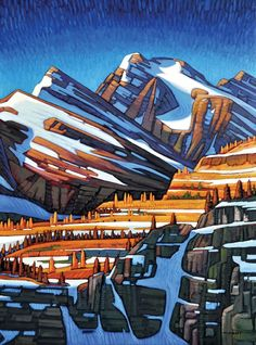 Landscape Drawings, Abstract Landscape, Landscape Paintings, Landscapes, Mountain Art, Mountain Paintings, Krishna Art, Canadian Artists, Cool Paintings