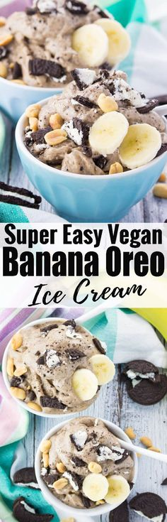 Looking for vegan ice cream? This vegan banana ice cream with oreos and peanut butter is one of my favorites! It's super easy to make and so delicious! Find more vegan desserts at veganheaven.org!
