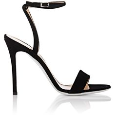 Giuseppe Zanotti Women's Kloe Suede Sandals (€605) ❤ liked on Polyvore featuring shoes, sandals, heels, обувь, black, ankle wrap sandals, high heel stilettos, black sandals, open toe sandals and suede sandals