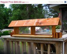"Cedar Longhouse Bird Feeder 36"" Large Capacity. Outdoor Bird Feeder- Feed…"