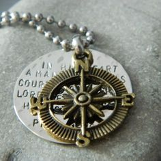 LOVE these necklaces! Proverbs 169 Inspirational Bronze Compass Handstamped Necklace | wirenwhimsy - Jewelry on ArtFire