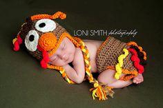 Turkey Hat & Diaper Cover Set - Crochet Baby Newborn NB Beanie Cap Thanksgiving Costume Halloween Christmas