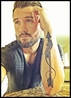 Nathan Mills, #forearm tattoo, #Arrow Tattoo  by: Caleb White, Dayton, Ohio