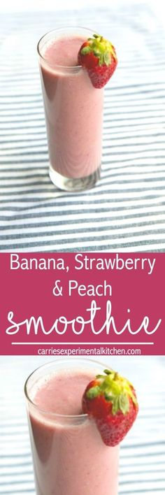 This healthy, fruit smoothie made with bananas, strawberries and peaches, help get you moving in the morning and is also perfect for an afternoon pick me up. #smoothie #banana #strawberry #peaches #breakfast #glutenfree #vegan #paleo