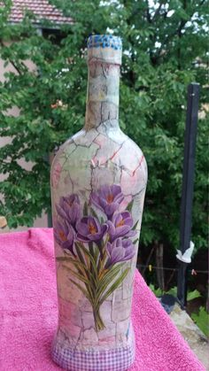 me ~ Bottle Decorative bottle Decoupage bottle Glass bottle Glass decoupage Flowers bottle Beautiful bottles Home decor Room decor Decoupage Wine Bottle Flowers, Wine Bottle Vases, Recycled Glass Bottles, Glass Bottle Crafts, Painted Wine Bottles, Hand Painted Wine Glasses, Diy Bottle, Wine Carafe, Decorative Bottles