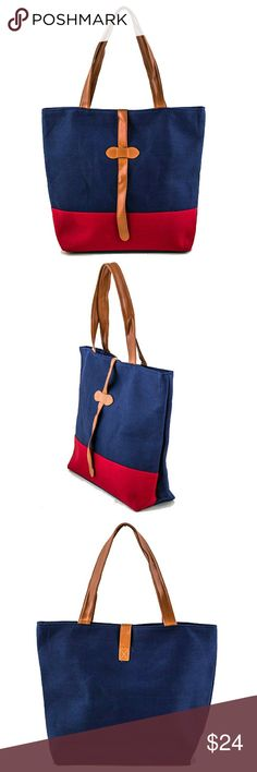 """Two Tone Canvas Tote in Navy and Red Zip Top Closure. One Inside Pocket. Two Inside Slip Pockets.  L: 16"""" x W: 4 1/2"""" x H: 14"""" Brand New Bags Totes"""