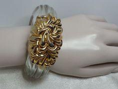 #InnaCytrine #Lucite Bracelet Goldtone Large Runway Couture Hinged Clamper Clear  #Statement