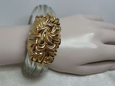 #InnaCytrine #Lucite Bracelet Goldtone Large Runway Couture Hinged Clamper Clear  #Statement