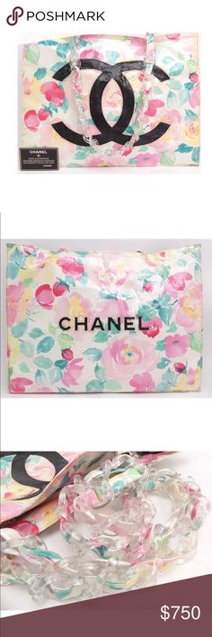 """Chanel CC logo canvas/ Vinyl plastic chain bag 100% guaranteed Authentic Chanel CC logo vinyl canvas plastic chain shoulder bag  W: 15.74"""" (40cm) H: 12.20"""" (31cm) D: 3.93"""" (10cm) Shoulder Strap/Handle Strap Length: 23.62"""" (60cm) Come With Serial Seal: YES  Guarantee Card: YES Made In: France Serial Number: 3233922 Smell: None  Black CC on the front is crumbling and flaking. The vinyl canvas also shows wear. Still functional CHANEL Bags Shoulder Bags"""