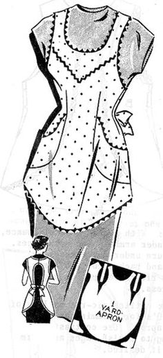 Commercial Pattern Archive: Syndicate 8155 c.1954, vintage sewing apron. Click on broken link for pattern pieces.