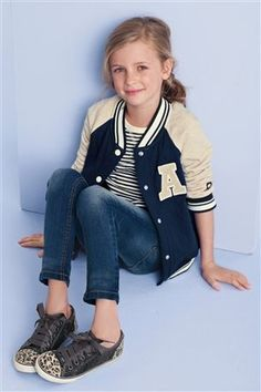 Navy Varsity Jacket And Leopard Tennis Shoes from the Next UK online shop