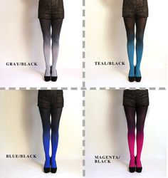 Ombre Tights gradient tights // PLUS SIZE.  Hand dyed. by XSILK