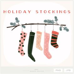 5 high quality digital hanging stocking designs and assorted pine branch designs, in a watercolor theme. Plus a combined design of hanging