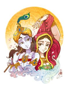 Lord Krishna and Radha by In-Sine