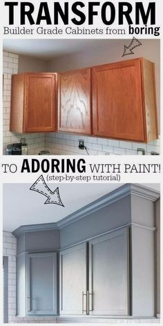 DIY Home Improvement Projects On A Budget - Transform Boring Cabinets - Cool Home Improvement Hacks, Easy and Cheap Do It Yourself Tutorials for Updating and Renovating Your House - Home Decor Tips and Tricks, Remodeling and Decorating Hacks - DIY Projects and Crafts by DIY JOY http://diyjoy.com/home-improvement-ideas-budget #BudgetHomeDecorating, #HomeDecorAccessories, #HomeDécor, #homedecortips #homeimprovementtricks  #RemodelingDIY #coolhomeimprovementideas