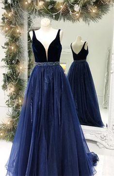 elegant navy blue prom dress, 2018 long prom dress, velvet navy blue long prom dress graduation dress