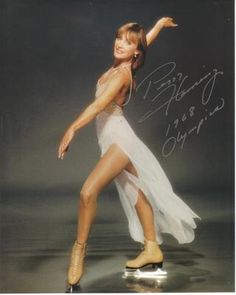 Peggy Fleming Poster - Simply Elegant White Skating Outfit w/ Nude Toned Skates