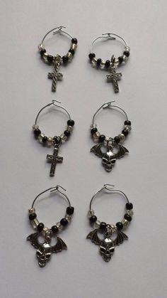 Set of 6 Handmade Handcrafted Gothic Skulls & Crosses Wine Glass Charms Dangles #Handmade