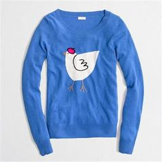 J Crew  Intarsia Teddie French Hen Sweater  $70 F5423 chicken beret Blue sz M #JCREW #SWEATER
