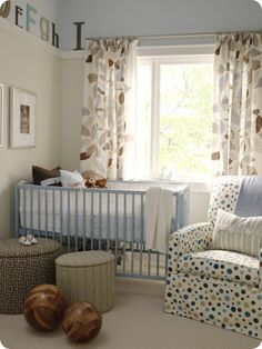 Thrifty Decor Chick: How to mix and match fabric - I want the spotty chair! The rest is nice too but THAT CHAIR!