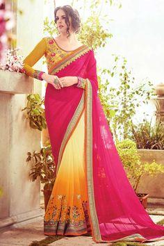 Multi Color Chiffon Saree Avec jaune Blouse Ajouter glamour de vous beauté avec ethnique Multi Color mousseline Saree avec Blouse jaune. Ce sari est embellir avec Zari, Resham broderie avec le travail de la pierre et bordure en dentelle, longueur de 5.5 mètres saree, 1 mètres blouse. Ceci est parfait pour toute occasion ou parties.  http://www.andaazfashion.fr/womens/sarees/multi-color-chiffon-saree-with-yellow-blouse-dmv9020.html