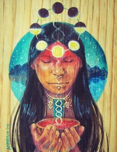 The mystical, fantastical, spiritual art of Annelie Solis. About the artist. Native American Paintings, Native American Art, Illustrations, Illustration Art, Spirited Art, Foto Art, Indigenous Art, Visionary Art, Sacred Art