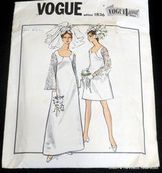 Vintage 1960s Vogue Wedding Dress Cocktail Dress by linbot1