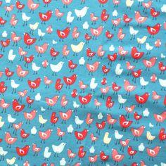 Birds Bio Jersey GOTS Farbe Türkis   Der Stoff von Froy & Dind aus Belgien hat ein schönes und fröhliches Design. Ich habe nicht warten können meinem Mädchen ein Sommer Jumpsuit zu machen! :)  Material: 95% Bio Baumwolle (GOTS)        5% Elastan Breite: 160cm