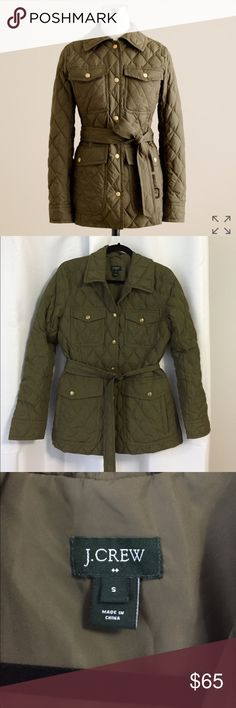 J. Crew Factory Quilted Down Jacket Adorable Olive green Down jacket with belt and button front in great condition. Minor wear. Fits true to size. J. Crew Jackets & Coats