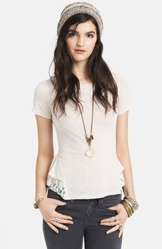 Free People Lace Hem Peplum Top available at #Nordstrom