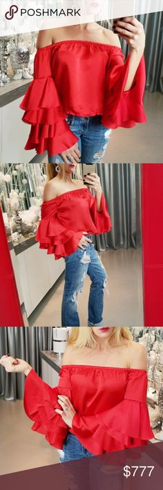 """SASSY RED OFF SHOULDER RUFFLED SLEEVED TOP BRAND NEW  BOUTIQUE ITEM  PRICE IS FIRM  I am in love with this flirty red off shoulder satin top, featuring romantic & feminine ruffled detailed sleeves. Pair with ripped jeans & heels or leggings & a faux fur vest for cooler weather! So chic & fabulous!!   Modeled in a small  100% POLYESTER  S Bust 16-18"""" across  M BUST 17-19"""" across  L BUST 18-20"""" across Hand measurements are approx   *date night getaway vegas valentines day valentines's party…"""