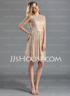 A-Line/Princess Scoop Neck Knee-Length Charmeuse Lace Bridesmaid Dresses With Sash (007019660) - JJsHouse