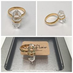 Quartz ring sterling silver Brand new.  Size 7. 14k gold plated .925 sterling silver clear quartz. The clear quartz is approx. 9mm c 22mm. The band is 3mm. Inquire for wholesale Peace love flair Jewelry Rings