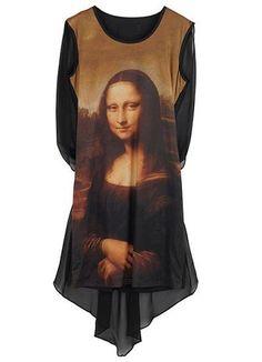 Black Sleeveless Mona Lisa Painting High Low Dress
