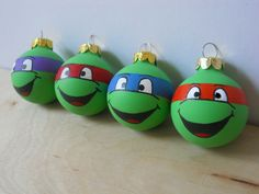 How cute!! TMNT Ninja Turtles painted ornament set of 4. $20.00, http://www.etsy.com/listing/110166049/tmnt-ninja-turtles-painted-ornament-set