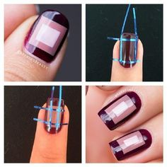 Three step geometric nails - 13 Wintery DIY Nail Art Tutorials | GleamItUp