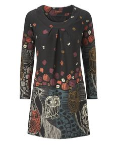 """""""Joe Browns"""" Joe Browns Funky Owl Knitted Dress at Simply Be, $75 // A-line styling, machine washable, great with leggings"""