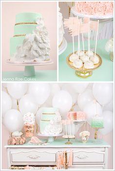 Teal, blue, turquoise, peach, gold, white. Unique wedding idea or bridal shower. Balloons. Sooo cute.