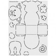 """Design-Schablone Nr. 2 """"Schweinchen-Box"""", Din A4"""