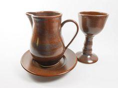 Ceramic communion set  3 piece communion set  brown pottery communion by Tamarack Stoneware
