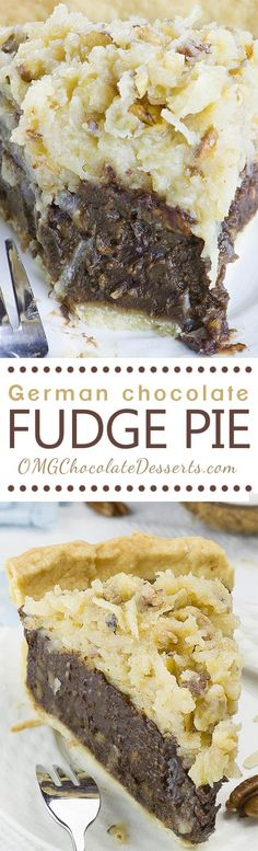 German Chocolate Pie - decadent chocolate dessert. My husband's favorite pie recipes and perfect easy chocolate pie for every chocoholic. Easy Recipes For Desserts, Amazing Dessert Recipes, Best Desserts, Best Recipes, Desserts To Make, Mini Desserts, Awesome Desserts, Easy German Recipes, Delicious Desserts