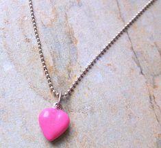 Candy Pink Enamel Heart on Sterling Silver Chain £17.00 Pink Candy, Sterling Silver Chains, Free Gifts, Gift Guide, Enamel, Pendant Necklace, Heart, Pretty, Jewelry