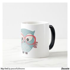 Shop Hip Owl Magic Mug created by peacefuldreams. Color Changing Coffee Mug, Coffee Mugs, Owl, Magic, Cool Stuff, Blue, Animals, Animaux, Owls