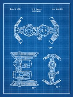 How to create a blueprint effect in adobe photoshop youtube star wars tie bomber blueprint graphic art poster in blue gridwhite ink malvernweather Gallery