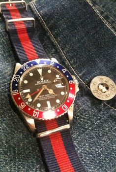 Rolex Watches Collection : Denim and the Rolex GMT Master II. Custom red and blue nylon strap ties in with the bezel on the watch. - Watches Topia - Watches: Best Lists, Trends & the Latest Styles Vintage Rolex, Vintage Watches, Vintage Men, Breitling, Luxury Watches, Rolex Watches, Cool Watches, Watches For Men, Bracelet Nato