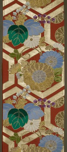 "Japanese Fukuro Obi  12""x 162""  Decorated section:  12""x 101""  Silk, brocaded with gold, silver, and silks.  Rust red ground, with brocading in green, pale blue, white, and lavender, along with gold and silver."