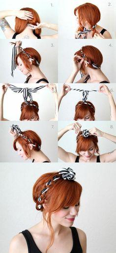 bandana frisuren dame mit roten haaren und hochsteckfrisur mit gestreiftes haartuch