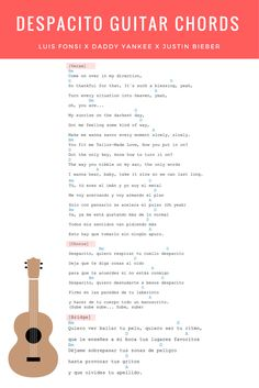 Despacito Guitar Chords & Lyrics - Justin Bieber Remix Luis Fonsi & Daddy Yankee. Click through to view a free video guitar tutorial for the song.