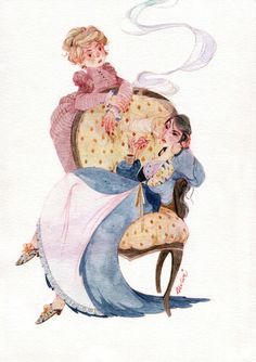 v křesle (in an armchair) Lady-Holmes and Lady-Watson commission for dear Shephaestion ♥ v kresle Character Illustration, Book Illustration, Art Sketches, Art Drawings, Pretty Drawings, Animation, Wildlife Art, Cute Art, Art Inspo