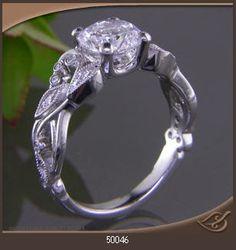 Custom Made Vintage Style Vine & Leaf Engagement Ring